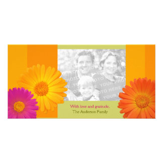 Colorful Daisy Flowers Personalized Family Easter Card