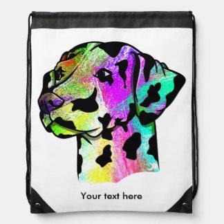 Colorful Dalmatian Drawstring Bag