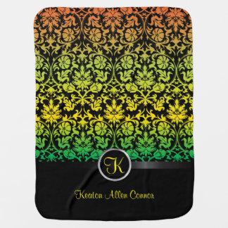 Colorful Damask Floral Design Pattern Baby Blanket