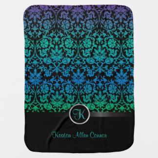Colorful Damask Floral Design Pattern Stroller Blankets