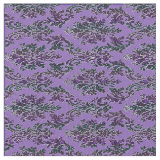 Colorful Damask Print on Purple Fabric