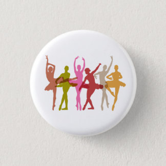 Colorful Dancing Ballerinas 1 Inch Round Button