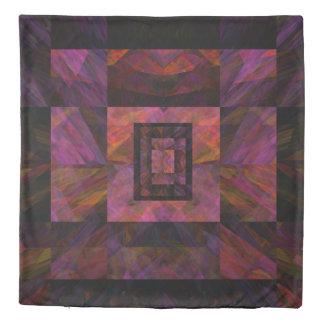 Colorful Dark Galaxy Of Blocks Artwork Duvet Cover