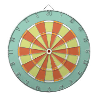Colorful Dart Board in Aqua and Orange