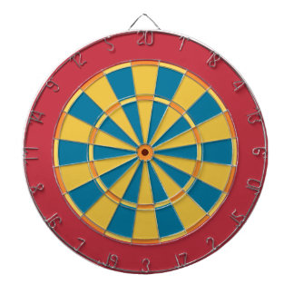 Colorful Dart Board in Primary colors red blue
