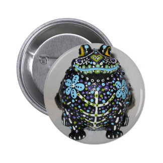Colorful Day Of The Dead Frog 2 Inch Round Button
