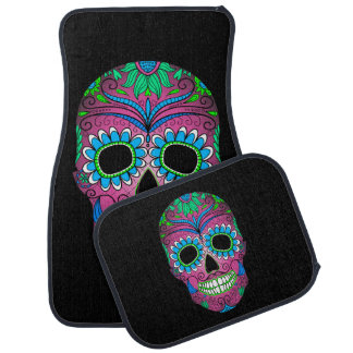Colorful Day of the Dead Grunge Sugar Skull Car Mat