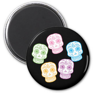 Colorful Day of the Dead Skulls 2 Inch Round Magnet