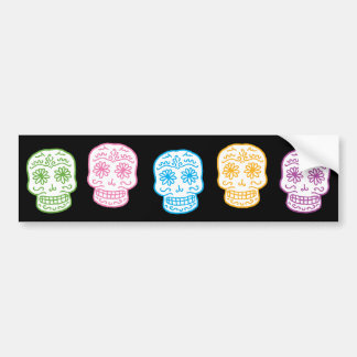 Colorful Day of the Dead Skulls Bumper Sticker