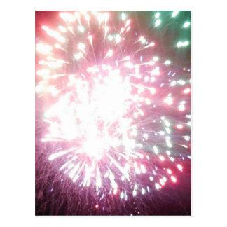 Colorful Dazzle fireworks postcard