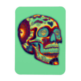 Colorful Decorated Skull On Green Rectangular Photo Magnet