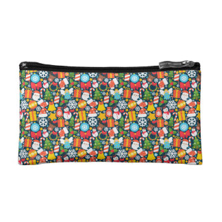 Colorful decorative christmas elements cosmetic bags