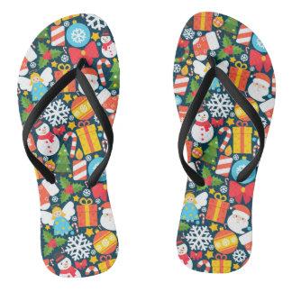 Colorful decorative christmas elements flip flops
