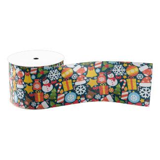 Colorful decorative christmas elements grosgrain ribbon