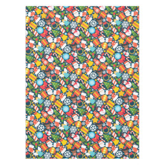 Colorful decorative christmas elements tablecloth