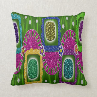 Colorful Decorative Jewel and Glitter Throw Pillow