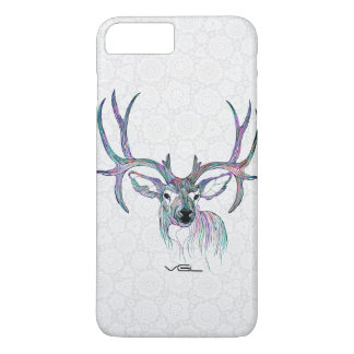 Colorful Deer Illustration With Big Horns iPhone 7 Plus Case