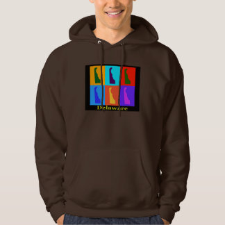Colorful Delaware State Pop Art Map Hoodie