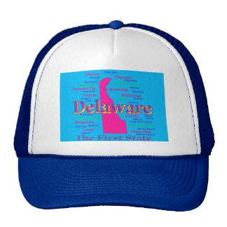 Colorful Delaware State Pride Map Silhouette Hat