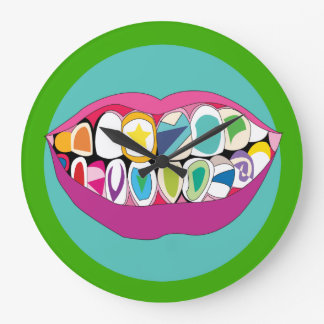Colorful Dentist Office Tooth Teeth Smile Wallclocks