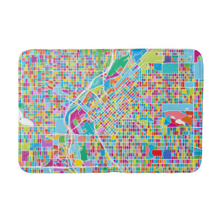 Colorful Denver Map Bathroom Mat