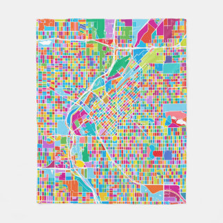 Colorful Denver Map Fleece Blanket