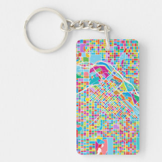 Colorful Denver Map Keychain
