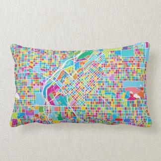 Colorful Denver Map Lumbar Pillow
