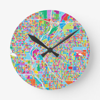 Colorful Denver Map Round Clock