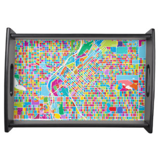 Colorful Denver Map Serving Tray