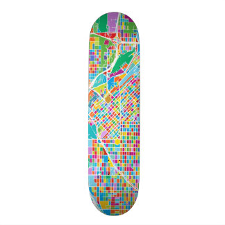Colorful Denver Map Skate Board