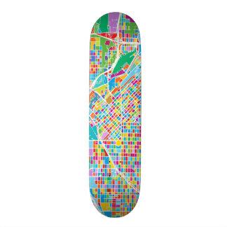 Colorful Denver Map Skateboard Deck