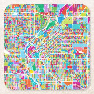 Colorful Denver Map Square Paper Coaster