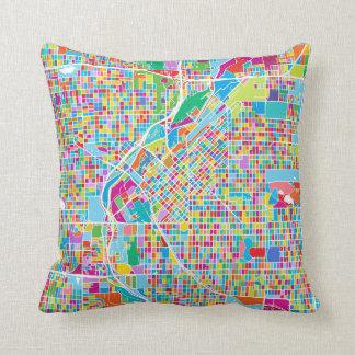 Colorful Denver Map Throw Pillow