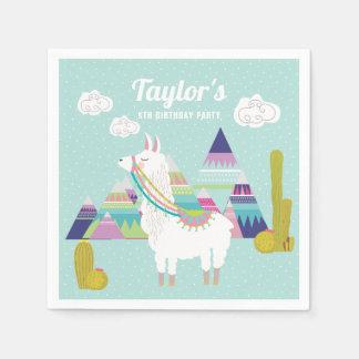 Colorful Desert Llama Personalized Paper Napkins