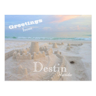 Colorful Destin Florida Sand Castle Postcard
