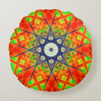 Colorful Detailed Star Mandala Round Pillow