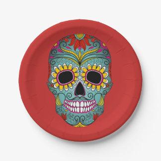 Colorful Dia de los Muertos Day Of The Dead Party Paper Plate