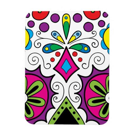 """Colorful """"Dia Des Los Muertos"""" Large Magnet"""