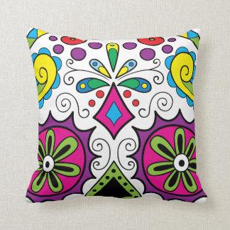 "Colorful ""Dia Des Los Muertos"" Throw Pillows"
