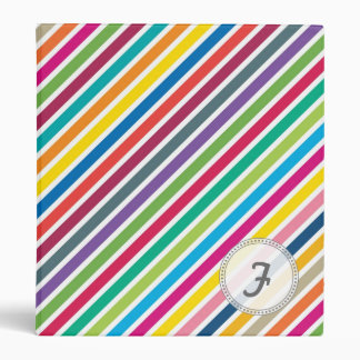 Colorful Diagonal Candy Stripes - Custom Text Binders