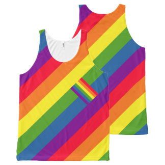 Colorful Diagonal Rainbow Flag Gay Pride All-Over-Print Tank Top