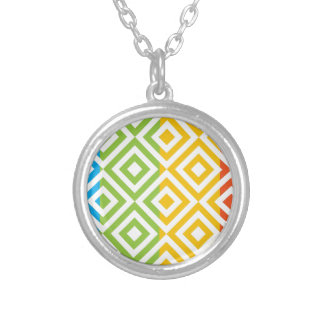 Colorful Diamond Pattern Silver Plated Necklace