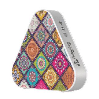 Colorful diamond tiled mandalas floral pattern blueooth speaker