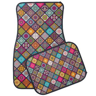 Colorful diamond tiled mandalas floral pattern car mat