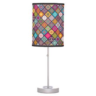 Colorful diamond tiled mandalas floral pattern desk lamp