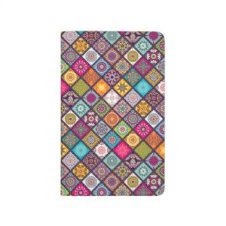 Colorful diamond tiled mandalas floral pattern journal