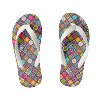 Colorful diamond tiled mandalas floral pattern kid's flip flops