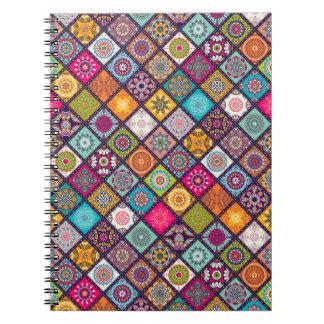 Colorful diamond tiled mandalas floral pattern notebooks