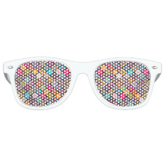 Colorful diamond tiled mandalas floral pattern party sunglasses